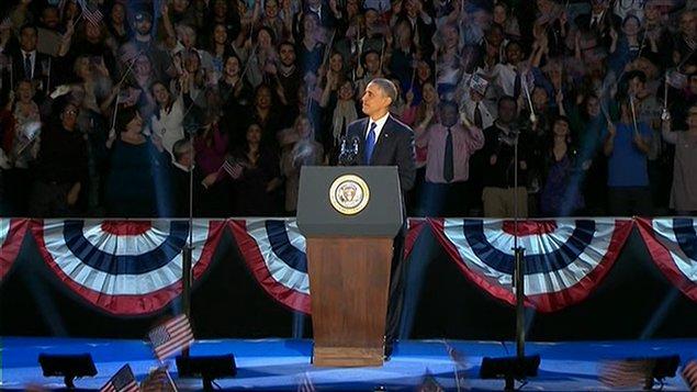 Le président Barack Obama livre son discours de victoire à Chicago.