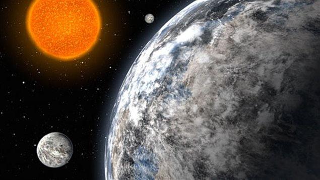 Impression artistique du système planétaire entourant l'étoile HD 40307.