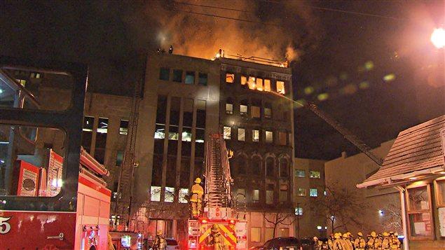 Incendie dans le Vieux-Montréal