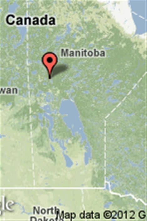 Carte indiquant l'emplacement de Snow Lake au Manitoba