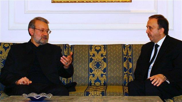 Le président du parlement syrien, Mohammed Jihad al-Laham et son homologue iranien, Ali Larijani
