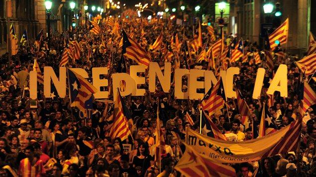 Manifestation en faveur de l'indépendance de la Catalogne, le 11 septembre 2012, à Barcelone.