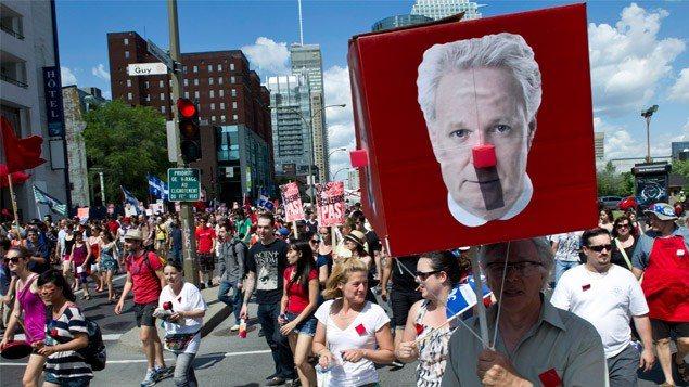 Des étudiants lors d'une manifestation, le printemps dernier à Montréal