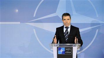 Le secrétaire général de l'OTAN, Anders Fogh Rasmussen, lors d'une réunion des ministres des Affaires étrangères des pays de l'OTAN à Bruxelles, mardi.