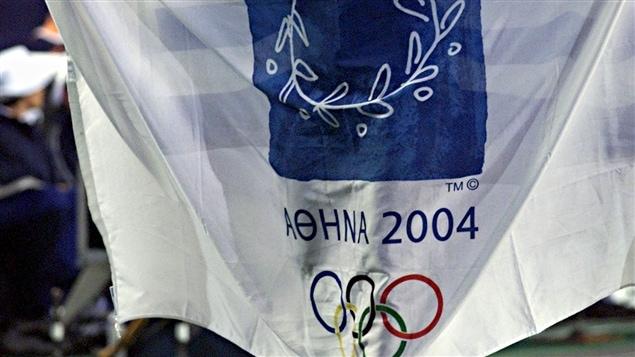 Le drapeau des Jeux d'Athènes