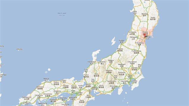 La préfecture de Miyagi, dans l'est du Japon