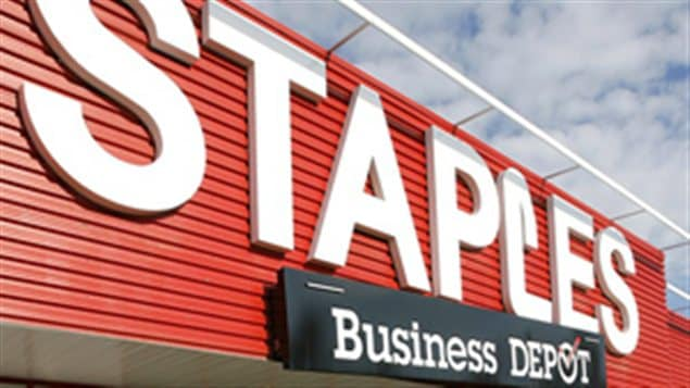 Une enseigne d'un magasin Staples Business Depot