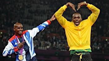 Usain Bolt et Mohamed Farah aux Jeux de Londres