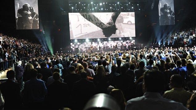 Le groupe Pink Floyd durant le concert-bénéfice au profit des victimes de la tempête Sandy.