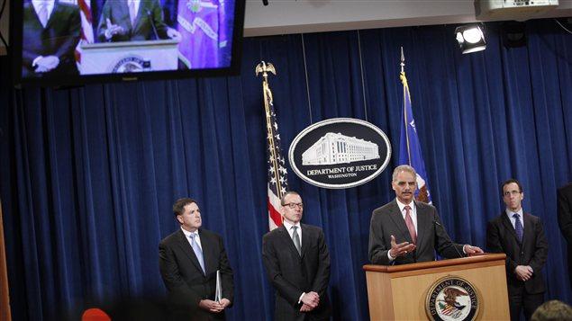 Conférence de presse des autorités américaines, le 19 décembre, au département de la Justice.