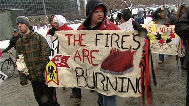 Manifestation du mouvement Idle no more à Ottawa le 21 décembre