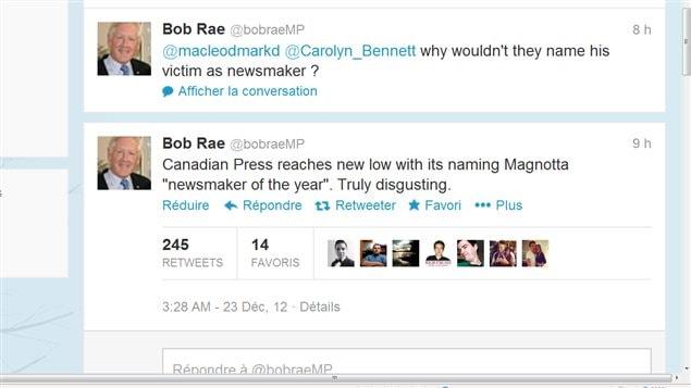 Le message de Bob Rae : La Presse Canadienne à son plus bas en nommant Magnotta personnalité médiatique de l'année. Vraiment dégoutant.