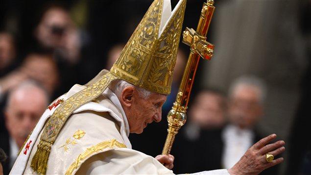 Le pape Benoit XVI pendant la messe du Nouvel An, le 1er janvier 2013.