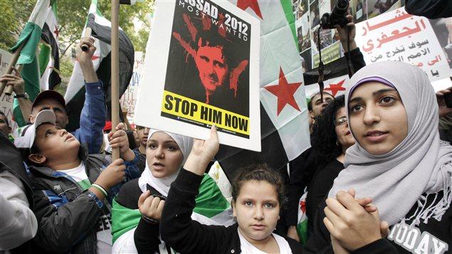 Manifestation d'Américains originaires de Syrie, devant les Nations unies à New-York, le 26 septembre 2012
