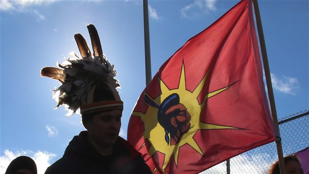 Les manifestants du mouvement Idle No More à Cornwall en Ontario