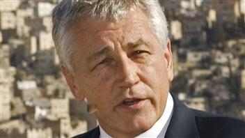 Chuck Hagel, en 2008, lors d'une visite en Jordanie.