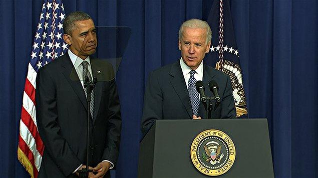 Barack Obama et Joe Biden en conférence de presse