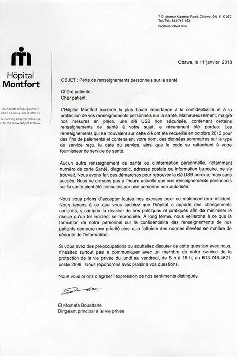 L'établissement a envoyé des lettres à ses patients pour les informer de la situation.
