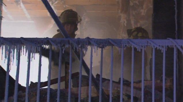 Les pompiers au travail par -35°C