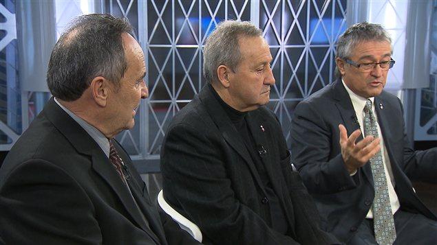 De gauche à doite, les conseillers indépendants de Laval Yvon Martineau, Jacques St-Jean et Denis Robillard.