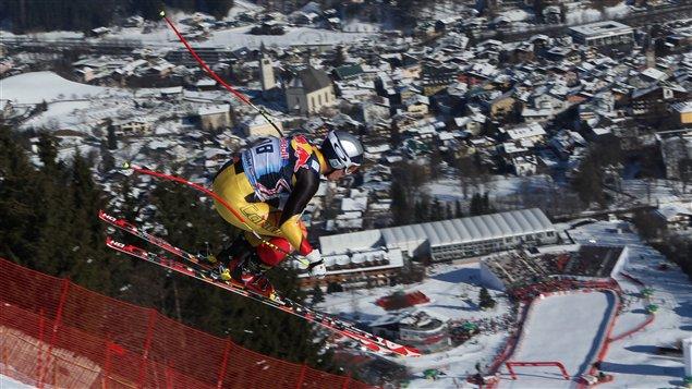 Erik Guay à l'entraînement à Kitzbühel