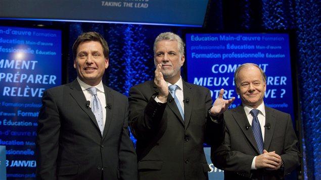 Les trois candidats à la direction du PLQ, Pierre Moreau, Philippe Couillard et Raymond Bachand