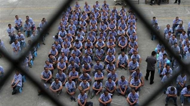 Des prisonniers dans un camp de travail chinois