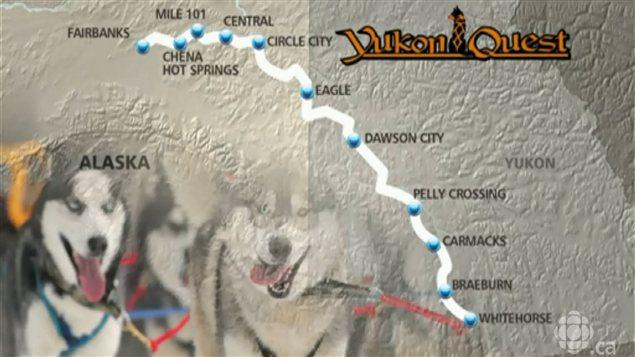 Carte de l'itinéraire que suivront les participants de la course internationale de traîneau à chiens Yukon Quest 2013, de Whitehorse, au Yukon, à Fairbanks, en Alaska.