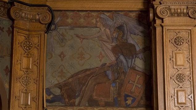 La fresque dévoilée dans le bureau du chef de l'opposition Thomas Mulcair