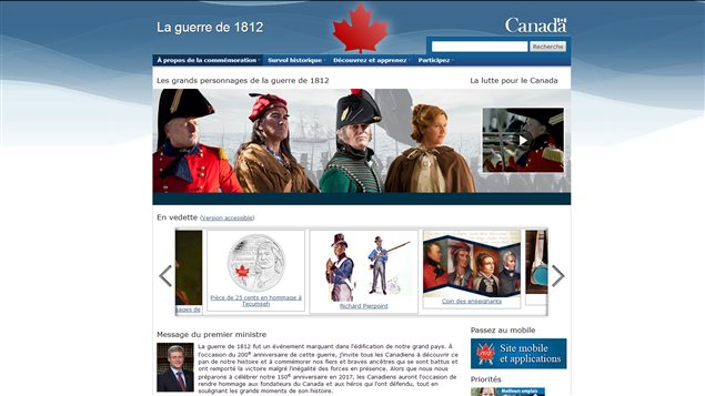 La page d'accueil du site 1812.gc.ca