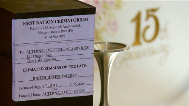 L'urne funéraire de l'épouse de Maurice Talbot