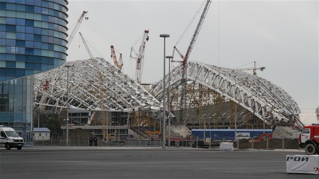 Le Stade central de Sotchi en construction