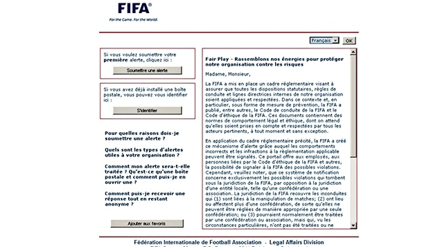 Le site Internet de la FIFA