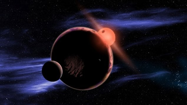 Représentation artistique d'une planète autour d'une naine rouge.
