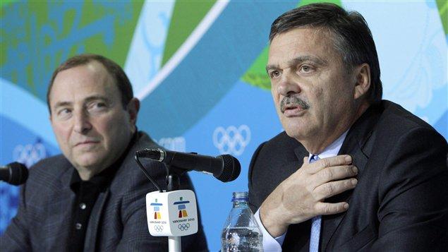 Gary Bettman et René Fasel à Vancouver en 2010.