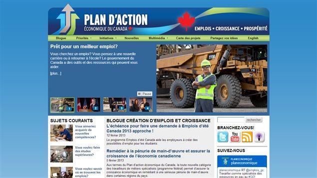 La page d'accueil du site internet www.actionplan.gc.ca/fr