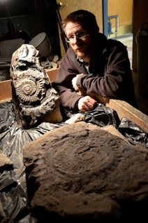 Le chercheur Leif Tapanila devant certains fossiles