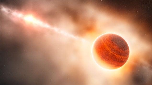 Impression artistique de la planète naissante qui se trouve autour de l'étoile HD100546