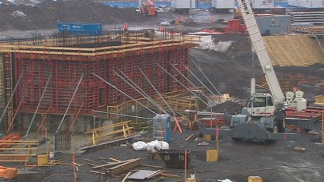 Le chantier de l'amphithéâtre à Québec