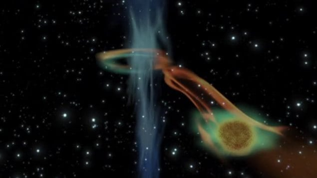 Représentation du trou noir avaleur de planète