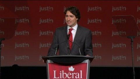 Justin Trudeau pendant son discours.