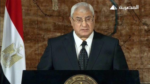 Premier discours du président égyptien par intérim Adli Mansour