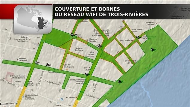 Couverture et bornes du réseau wi-fi de Trois-Rivières