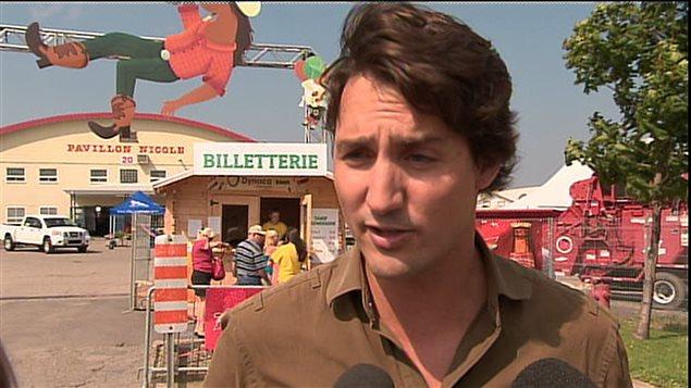 Le chef du PLC, Justin Trudeau, à Montmagny