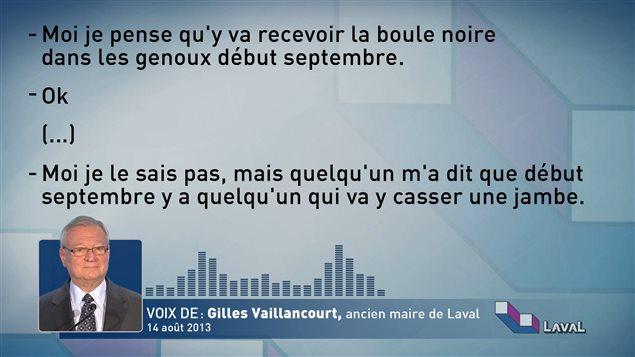 Les déclarations de Gilles Vaillancourt lors de la conversation enregistrée par Claire Le Bel.