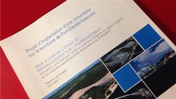 Mise à jour de l'Étude des répercussions sur l'environnement du projet de cimenterie à Port-Daniel-Gascons