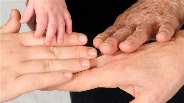 Les mains d'hommes de plusieurs générations
