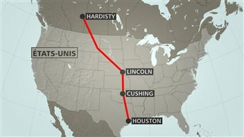 Le tracé du projet de pipeline Keystone XL de TransCanada