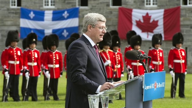Le premier ministre Stephen Harper au Fort Lennox le 14 septembre 2012 lors des commémorations de la guerre de 1812