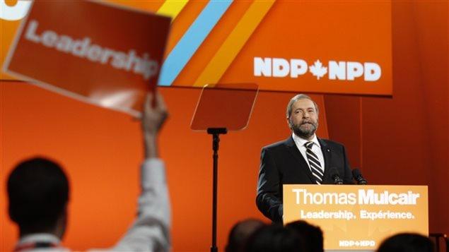 Thomas Mulcair lors du congrès fédéral du NPD à Montréal, en 2013.